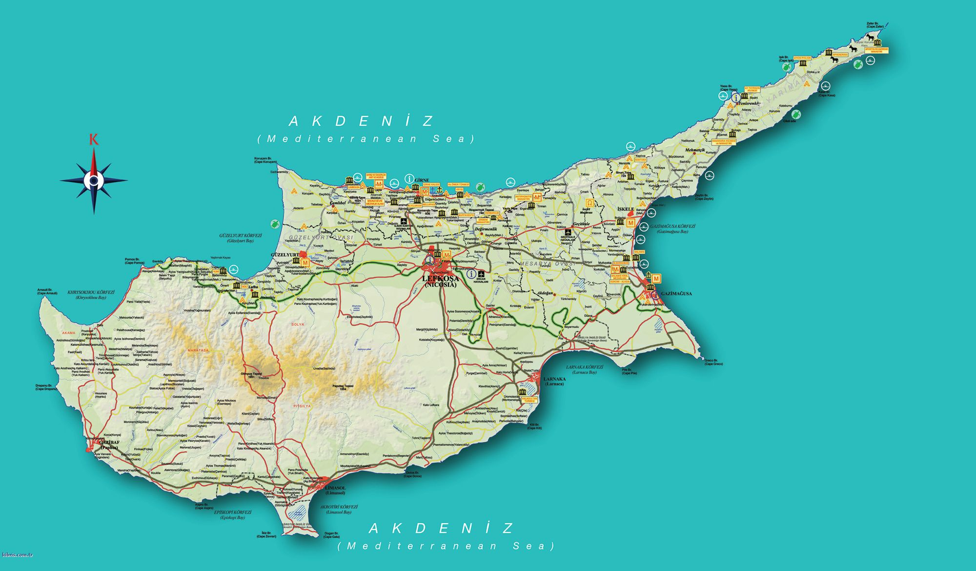 Map Of Cyprus Island Green Republic Of Cyprus Yellow - Northern cyprus map